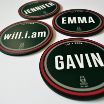 Bespoke coasters for the judges at The Voice UK